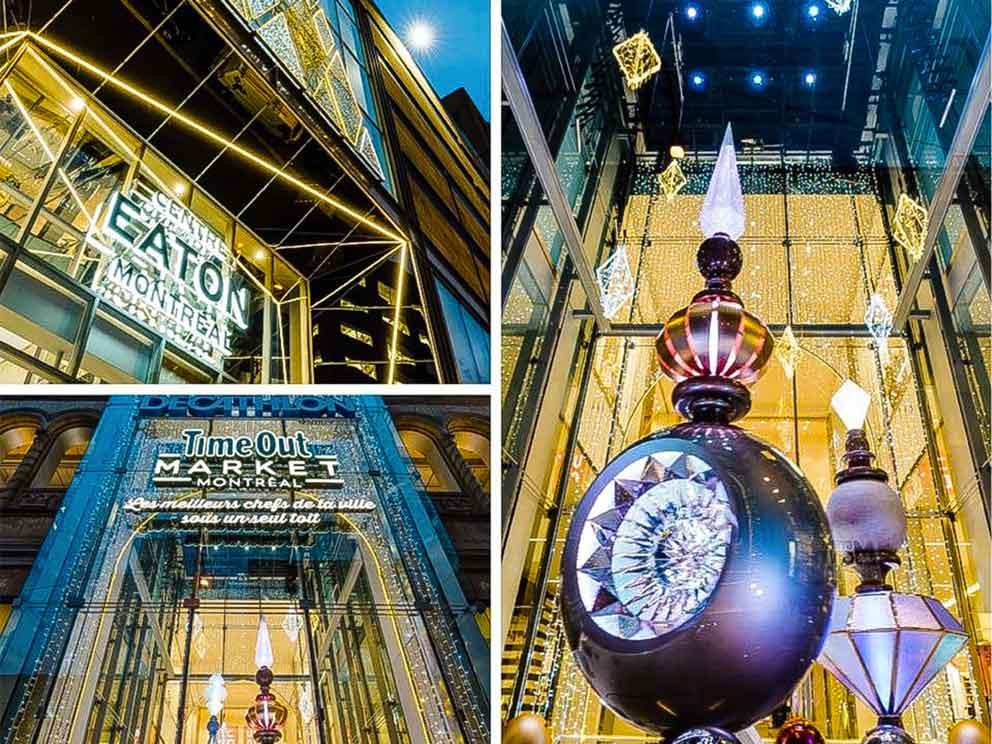 Installation annuelle des décors de Noël du Centre Eaton de Montréal (avec le Groupe Artea)